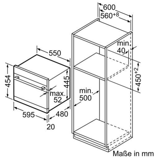 Bản vẽ kích thước lắp đặt Máy rửa bát mini Bosch SKS62E22EU