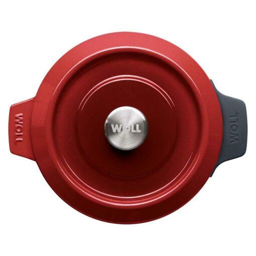Nồi gang Woll 24 cm đúc nguyên khối - Sơn chống dính màu đỏ