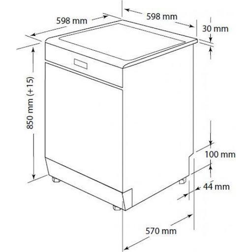 Kích thước máy rửa bát độc lập