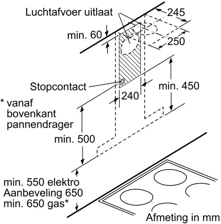 Kích thước gắn tường Máy hút mùi Bosch DWB77CM50