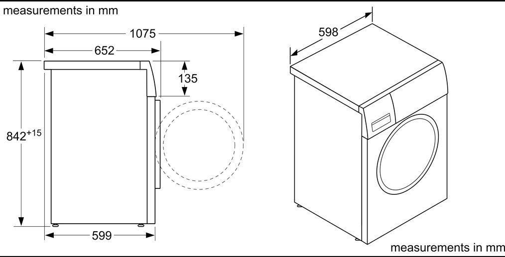 Kích thước Máy sấy Bosch WTX87M20 8kg