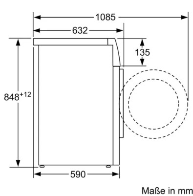 Kich thước tiêu chuẩn của Máy giặt Bosch WAV28E41
