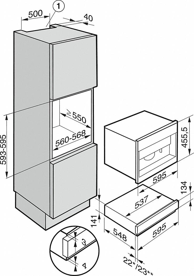 Kích thước của Máy pha cà phê Miele CVA6805