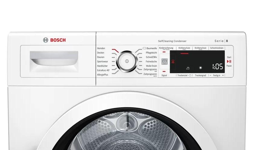 Bảng điều khiển và hiển thị Máy sấy quần áo Bosch WTW87541