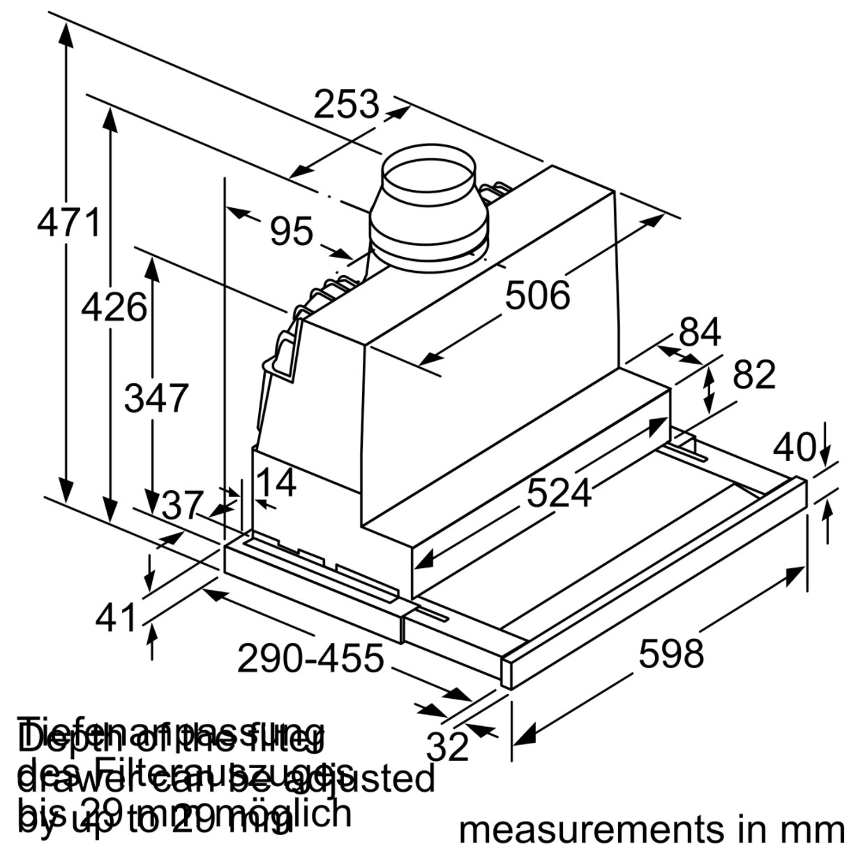 Kích thước chuẩn của máy hút mùi Bosch DFS067J50B