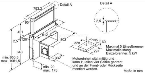 Kích thước của Máy hút mùi âm bàn DDA097G50 Bosch
