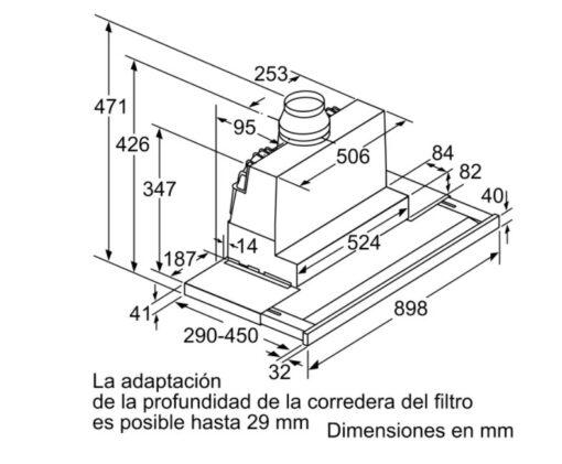 Kích thước chuẩn của máy hút mùi bosch DFS097K50
