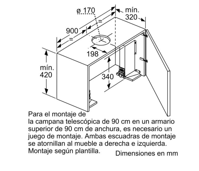 Kích thước hộp máy hút mùi bosch DFS097K50