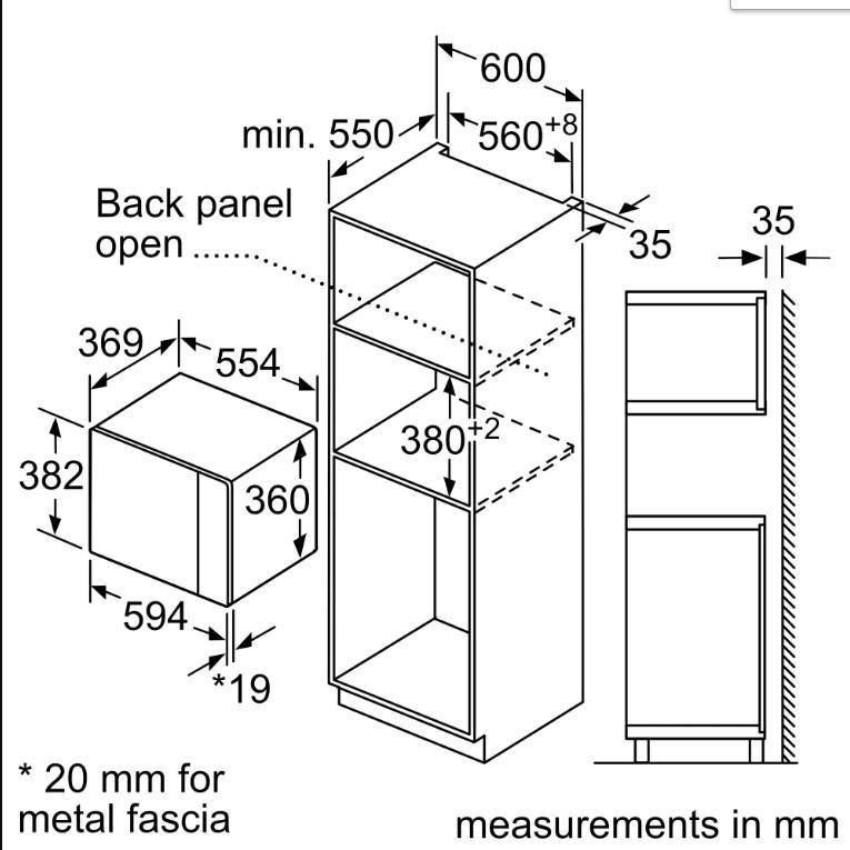 Kích thước của Lò vi sóng Bosch BEL554MS0B