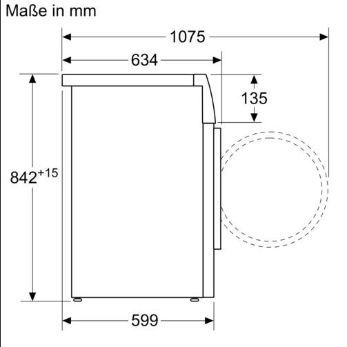 kích thước Máy sấy quần áo Bosch WTW87541