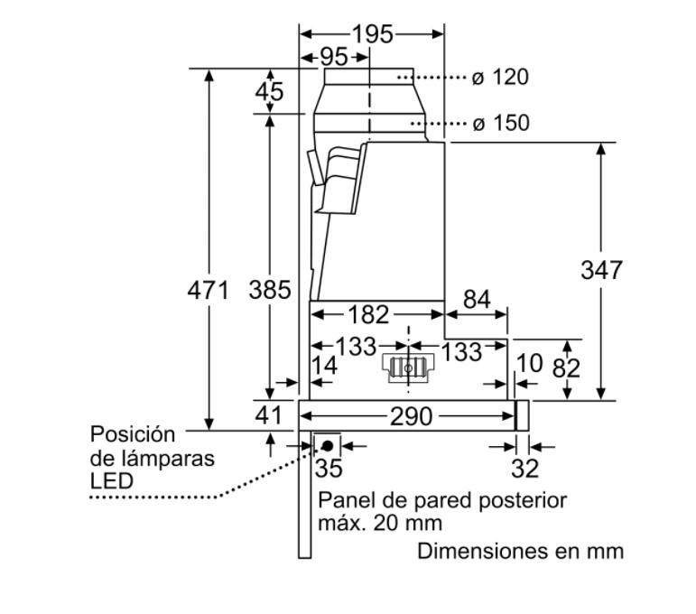 Kích thước ngang của máy hút mùi bosch DFS097K50