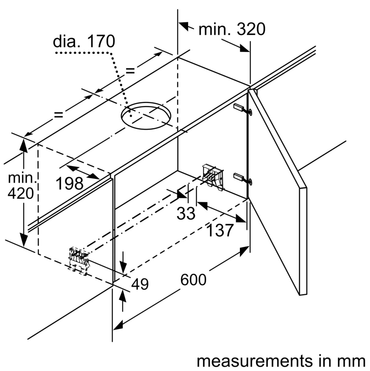 Kích thước vỏ của máy hút mùi Bosch DFS067J50B