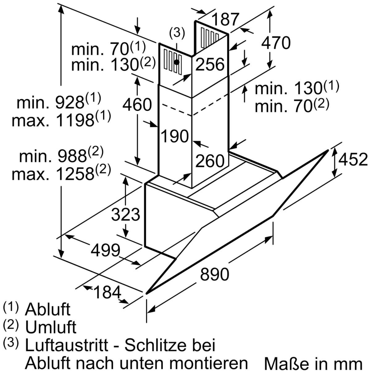 Kích thước tổng thể Máy hút mùi nghiêng Bosch DWK97JM60 – 90cm