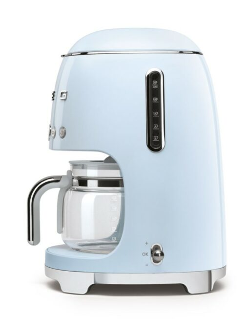 mặt phải của máy pha cà phê nhỏ giọt SMEG DCF02PBEU màu xanh