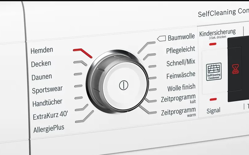 Bảng điều khiển Máy sấy quần áo Bosch WTW87541