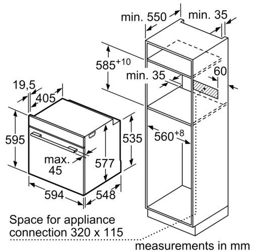Kích thước của lò nướng Bosch BEL520MS0K