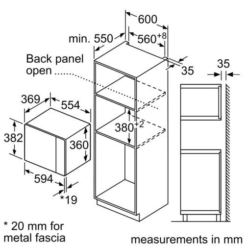 Kích thước chuẩn của lò vi sóng Bosch BEL554MS0