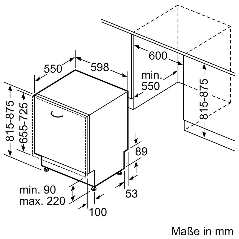 Bản vẽ kích thước lắp đặt Máy rửa bát Bosch SMV6ZCX49E serie 6 âm toàn phần