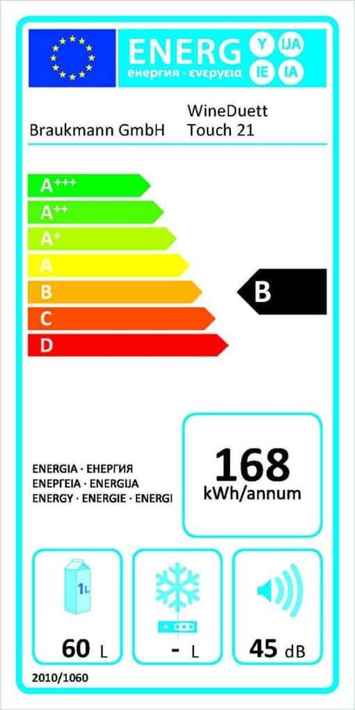 Tủ Rượu Vang Caso WineDuett Touch 21 lớp năng lượng B