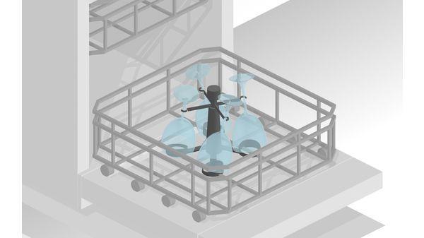 Hình ảnh giá treo ly thủy tinh khi bỏ vào kệ trong Máy rửa bát Bosch SMS68TW06E