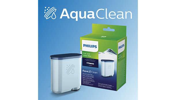 Nhờ bộ lọc nước AquaClean cho tổng số ly cafe lên tới 5000 ly mà không cần tẩy cặn