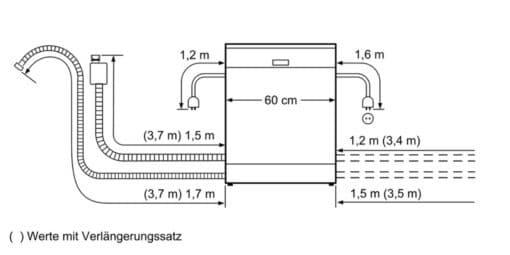 Bản vẽ kích thước lắp đặt Máy rửa bát Bosch serie 8 bán âm SMI88US36E